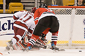 Jon Pelle (Harvard - 11), Jacques Perreault (NU - 9) - The Northeastern University Huskies defeated the Harvard University Crimson 3-1 in the Beanpot consolation game on Monday, February 12, 2007, at TD Banknorth Garden in Boston, Massachusetts.