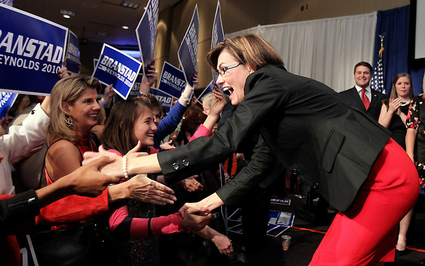 Lt. Governor-elect Terry Branstad Kim Reynolds arrives to celebrate victory on election night.  Republican Party election night rally at the Hy-Vee Conference Center in West Des Moines on Tuesday night, November 2, 2010.