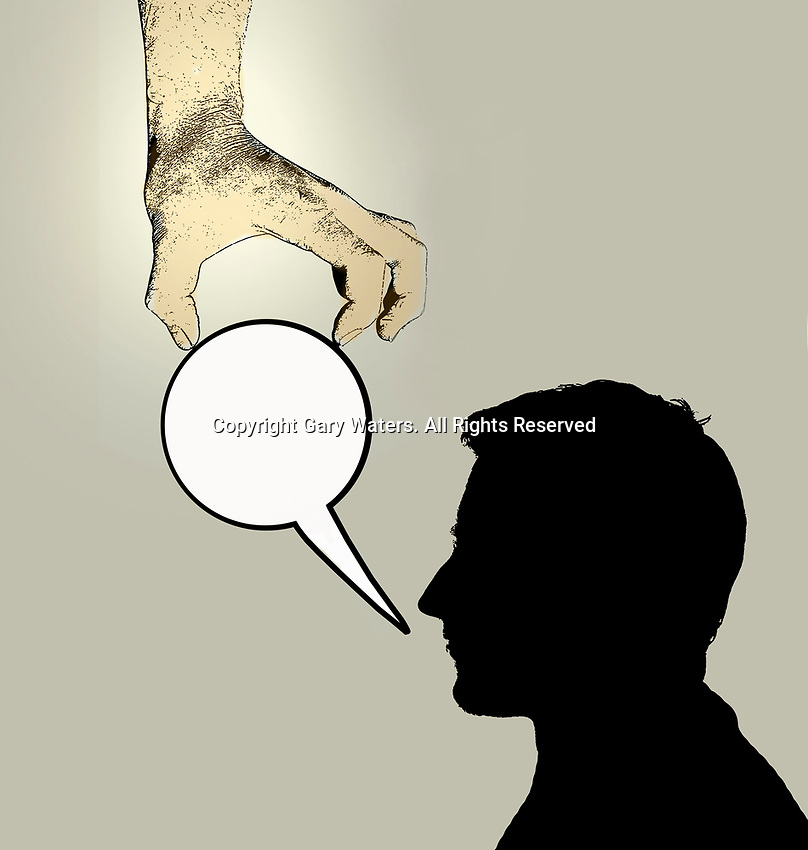 Hand removing man's speech bubble