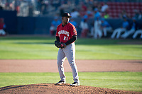 Vancouver Canadians relief pitcher Orlando Pascual (21) gets ready to deliver a pitch during a Northwest League game against the Spokane Indians at Avista Stadium on September 2, 2018 in Spokane, Washington. The Spokane Indians defeated the Vancouver Canadians by a score of 3-1. (Zachary Lucy/Four Seam Images)