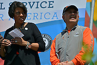 April 26, 2013  (Baltimore, Maryland)  Baltimore Mayor Stephanie Rawlings-Blake hosts San Francisco Mayor Edwin M. Lee (r) for a day of community service after Mayor Lee lost a friendly Super Bowl bet between the two cities.  (Photo by Don Baxter/Media Images International)