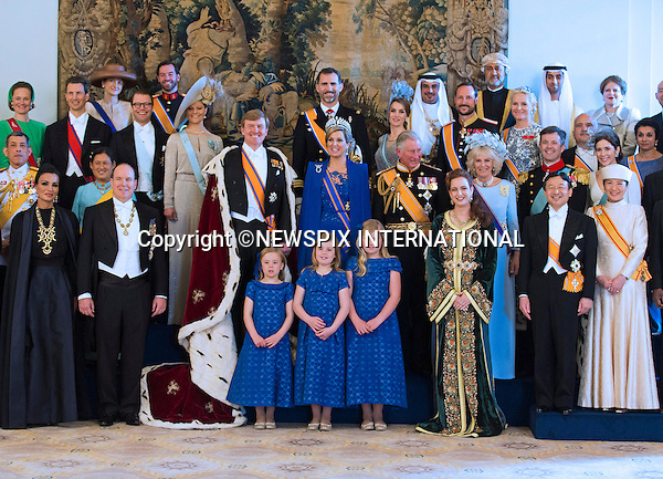 "30.04.2013; Amsterdam: KING WILLEM-ALEXANDER AND QUEEN MAXIMA.King Willem-Alexander and Queen Maxima pose for a group photograph with guests following the inauguration of King Willem-Alexander, at the Royal Palace in Amsterdam, The Netherlands.Mandatory Credit Photos: ©Pooro/NEWSPIX INTERNATIONAL..**ALL FEES PAYABLE TO: ""NEWSPIX INTERNATIONAL""**..PHOTO CREDIT MANDATORY!!: NEWSPIX INTERNATIONAL(Failure to credit will incur a surcharge of 100% of reproduction fees)..IMMEDIATE CONFIRMATION OF USAGE REQUIRED:.Newspix International, 31 Chinnery Hill, Bishop's Stortford, ENGLAND CM23 3PS.Tel:+441279 324672  ; Fax: +441279656877.Mobile:  0777568 1153.e-mail: info@newspixinternational.co.uk"