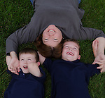 Kris and her boys, Nate and Zach, on the lawn at Barb and Richard's home, Columbus, Ohio, USA