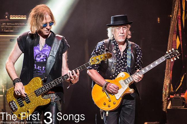 Brad Whitford and Tom Hamilton of Aerosmith performs at Riverbend Music Center in Cincinnati, Ohio.