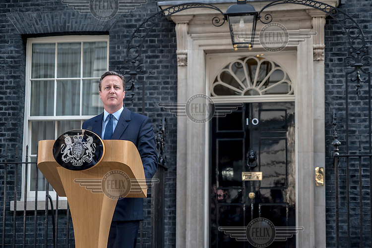 Prime Minister David Cameron makes a statement to the media, outside number 10 Downing Street, after losing the EU referendum vote.