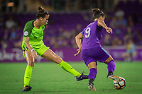 Orlando, FL - Thursday September 07, 2017: Carson Pickett, Camila Martins Pereira during a regular season National Women's Soccer League (NWSL) match between the Orlando Pride and the Seattle Reign FC at Orlando City Stadium.
