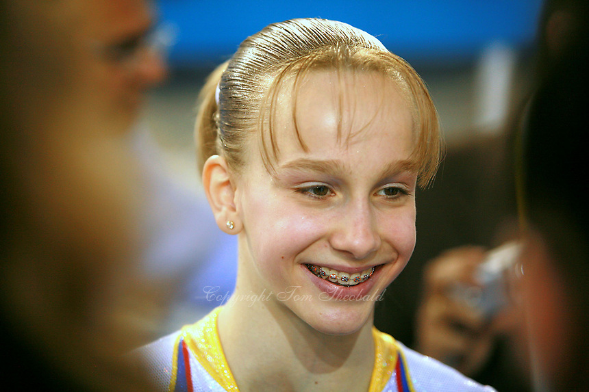 Sandra Izbasa of Romania smiles during press interview after helping Romania win silver in  women's senior team competition at 2006 European Championships Artistic Gymnastics at Volos, Greece on April 29, 2006. (Photo by Tom Theobald)<br />