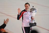 SCHAATSEN: ERFURT: Gunda Niemann Stirnemann Eishalle, 22-03-2015, ISU World Cup Final 2014/2015, winner Overall Ladies World Cup, Heather Richardson (USA), ©foto Martin de Jong