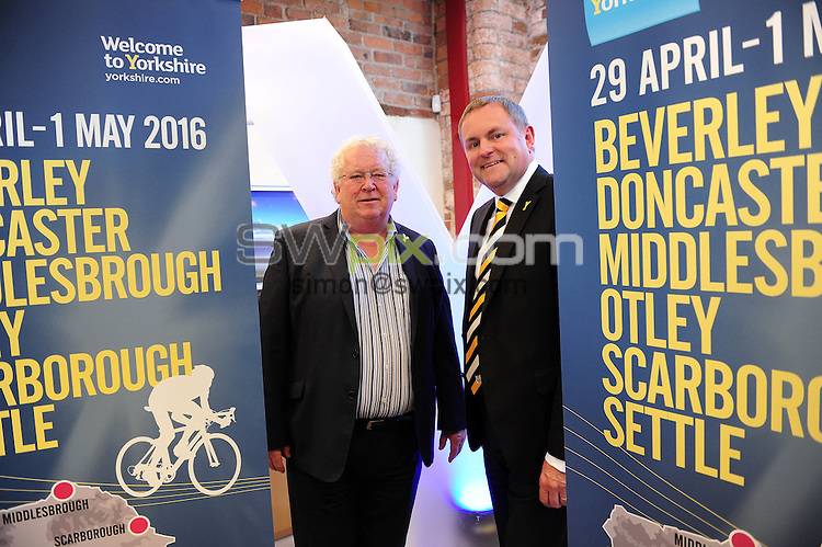 Picture by Simon Wilknson/SWpix.com 09/10/2015 - Cycling Tour de Yorkshire - 2016 host town city locations -<br /> Steve Parnaby and Gary Verity<br /> copyright picture- Simon Wilkinson - simon@swpix.com