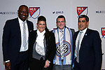 14 January 2016: Jack Harrison (ENG) (second from right), with NYCFC head coach Patrick Vieira (FRA) (left), his mother Deborah Harrison (second from left), and technical director Claudio Reyna (right), was selected with the #1 overall pick by the Chicago Fire then traded during the draft to New York City FC. The 2016 MLS SuperDraft was held at The Baltimore Convention Center in Baltimore, Maryland as part of the annual NSCAA Convention.