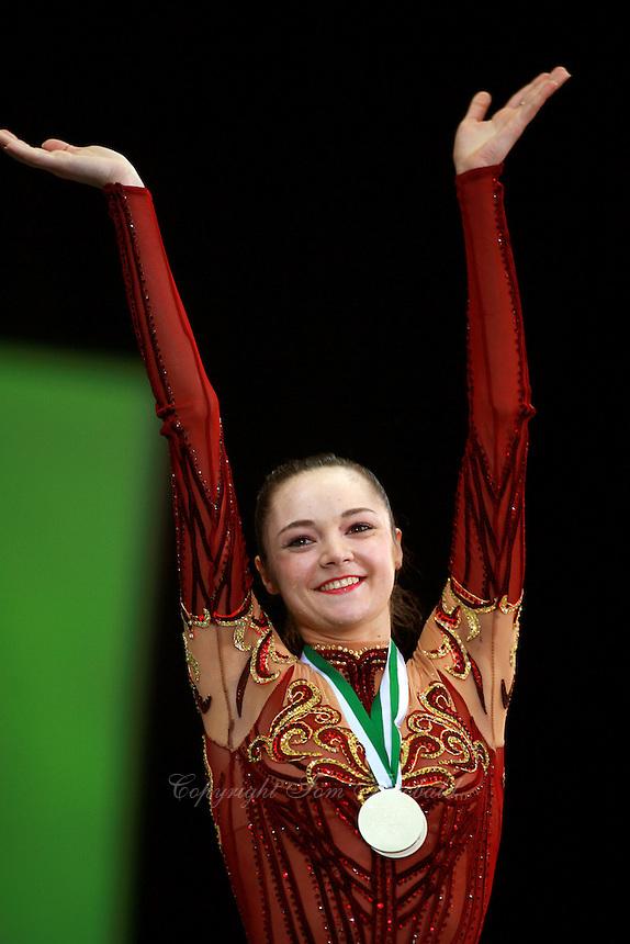 Anna Bessonova of Ukraine celebrates ribbon event final win at World Cup Portimao on April 29, 2007 at Portimao, Portugal.