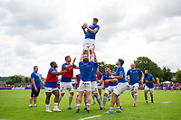 Josh Bayliss of Bath Rugby wins the ball at a lineout during the pre-match warm-up. Pre-season friendly match, between Bristol Rugby and Bath Rugby on August 12, 2017 at the Cribbs Causeway Ground in Bristol, England. Photo by: Patrick Khachfe / Onside Images