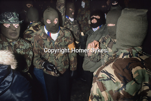 Ian Paisley Third Force paramilitaries Red Hand Commandos at Newtownardes for Loyalist Day of Action 1981.
