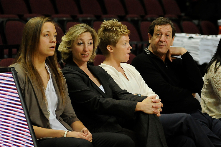 March 6, 2014; Las Vegas, NV, USA; Santa Clara Broncos head coach Jennifer Mountain (second from left) looks on against the Pepperdine Waves before the game of the WCC Basketball Championships at Orleans Arena. The Waves defeated the Broncos 80-74.
