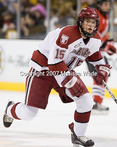 Doug Rogers (Harvard - 15) - The Northeastern University Huskies defeated the Harvard University Crimson 3-1 in the Beanpot consolation game on Monday, February 12, 2007, at TD Banknorth Garden in Boston, Massachusetts.