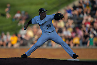 Wake Forest Demon Deacons starting pitcher Parker Dunshee (36) in action against the West Virginia Mountaineers in Game Four of the Winston-Salem Regional in the 2017 College World Series at David F. Couch Ballpark on June 3, 2017 in Winston-Salem, North Carolina.  The Demon Deacons walked-off the Mountaineers 4-3.  (Brian Westerholt/Four Seam Images)
