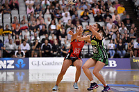 Pulse' Karin Burger and Tactix' Brooke Leaver in action during the ANZ Premiership - Pulse v Tactix at Fly Palmy Arena, Palmerston North, New Zealand on Sunday 10 March 2019. <br /> Photo by Masanori Udagawa. <br /> www.photowellington.photoshelter.com