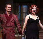 Adam James & Jennifer Tilly.during the Opening Night Curtain Call for the Roundabout Theatre Company's Broadway Production of 'Don't Dress For Dinner' at the American Airlines Theater on 4/26/2012 in New York City.