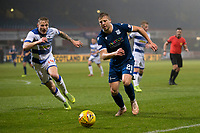 1st November 2019; Dens Park, Dundee, Scotland; Scottish Championship Football, Dundee Football Club versus Greenock Morton; Sean Mackie of Dundee takes on Cameron Salkeld of Greenock Morton  - Editorial Use