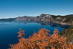 Fall color at Crater Lake.  National Park, Oregon.Photo copyright Lee Foster.  Photo # oregon-crater-lake-oregon105799