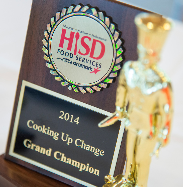 Championship trophy for the Cooking for Change challenge at Rice University, April 12, 2014.