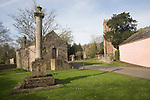 Sixteenth century church house building and war memorial, Crowcombe, Somerset, England