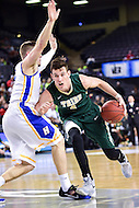 Baltimore, MD - William & Mary Tribe guard Omar Prewitt (4) drives to the basket against Hofstra Pride guard Brian Bernardi (14) during the CAA Basketball Tournament at the Royal Farms Arena in Baltimore, Maryland on March 6, 2016.  (Photo by Philip Peters/Media Images International)