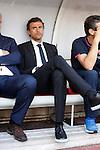 Barcelona´s coach Luis Enrique (C) during La Liga match between Rayo Vallecano and Barcelona at Vallecas stadium in Madrid, Spain. October 04, 2014. (ALTERPHOTOS/Victor Blanco)