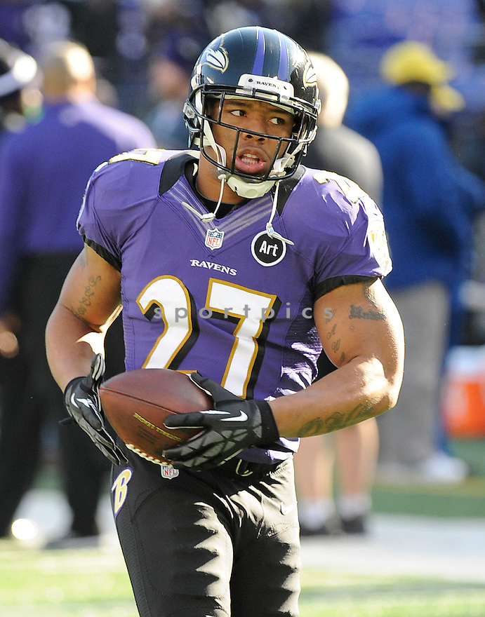 Baltimore Ravens Ray Rice (27) in action during a game against the Colts on January 6, 2013 at M&T Bank Stadium in Baltimore, MD. The Ravens beat the Colts 24-9.