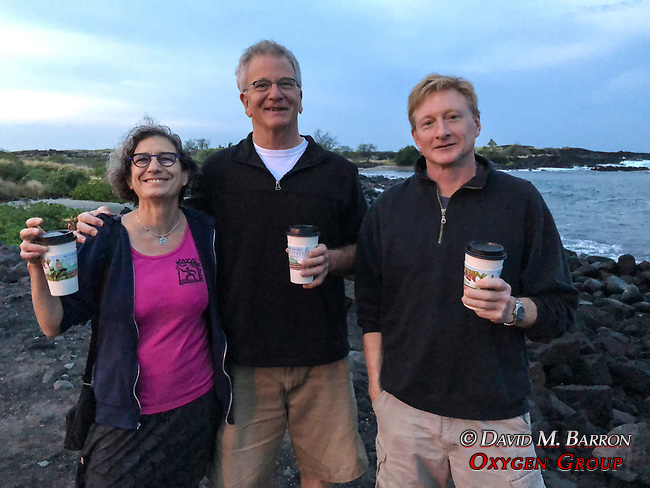Debora, John & Adam, Morning Coffee, Kona Beach