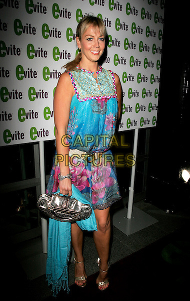 LIZ FULLER.The Evite GLAMOUR:OKE Party, Embassy London, Burlington Street, London, England. .April 26th, 2007.full length pink blue green pattern sleeveless dress floral print gold bag purse belt.CAP/AH.©Adam Houghton/Capital Pictures