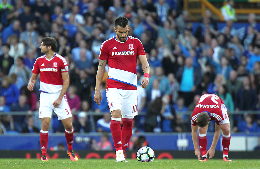 Middlesbrough's Alvaro Negredo looks dejected ahead of the restart after Everton's Gareth Barry scored his sides equalising goal to make the score 1 - 1<br /> <br /> Photographer Rich Linley/CameraSport<br /> <br /> The Premier League - Everton v Middlesbrough - Saturday 17th September 2016 - Goodison Park - Liverpool<br /> <br /> World Copyright &copy; 2016 CameraSport. All rights reserved. 43 Linden Ave. Countesthorpe. Leicester. England. LE8 5PG - Tel: +44 (0) 116 277 4147 - admin@camerasport.com - www.camerasport.com