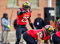 College Park, MD - NOV 11, 2017: Maryland Terrapins defensive back Antoine Brooks Jr. (25) pointing out defensive assignments during game between Maryland and Michigan at Capital One Field at Maryland Stadium in College Park, MD. (Photo by Phil Peters/Media Images International)