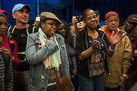 "NEW YORK APRIL 21 People singing Prince's songs at the Apollo Theater . During the course of his legendary career, Prince made several appearances at the famed Apollo Theater in Harlem, and the theater played his music as the marquee read ""Nothing Compares 2 U"".The pop star die a few hours ago at the age of 57. in Harlem, New York City, Friday, April 21, 2016. Photo by VIEWpress/Maite H. Mateo"