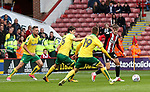 David Brooks of Sheffield Utd in action with Tom Trybull of Norwich City  during the Championship match at Bramall Lane Stadium, Sheffield. Picture date 16th September 2017. Picture credit should read: Jamie Tyerman/Sportimage