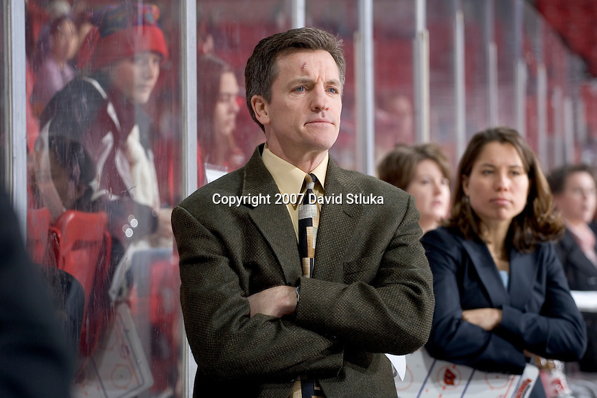 MADISON, WI - FEBRUARY 11: Head coach Mark Johnson of the Wisconsin Badgers women's hockey team looks on against the Ohio State Buckeyes at the Kohl Center on February 11, 2007 in Madison, Wisconsin. The Badgers beat the Buckeyes 3-2. (Photo by David Stluka)