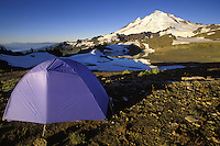 Backpackers tent below Mt Baker on a clear morning, North Cascades, Cascade Mountains, Washington