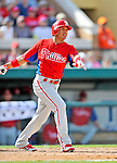 9 March 2012: Philadelphia Phillies infielder Cesar Hernandez in action during a Spring Training game against the Detroit Tigers at Joker Marchant Stadium in Lakeland, Florida. The Phillies defeated the Tigers 7-5 in Grapefruit League action. Mandatory Credit: Ed Wolfstein Photo