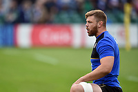 Dave Attwood of Bath Rugby shouts out encouragement to his team-mates during the pre-match warm-up. West Country Challenge Cup match, between Bath Rugby and Exeter Chiefs on October 10, 2015 at the Recreation Ground in Bath, England. Photo by: Patrick Khachfe / Onside Images