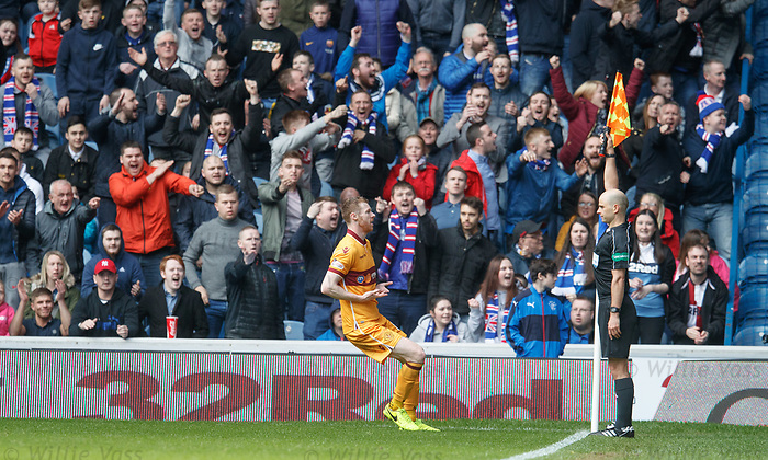 The linesman disallows Stephen Pearson's goal for Motherwell as he was celebrating it