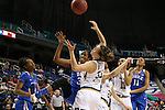 04 March 2016: Duke's Amber Henson (center) and Notre Dame's Kathryn Westbeld (33) challenge for a rebound. The Duke University Blue Devils played the University of University of Notre Dame Fighting Irish at the Greensboro Coliseum in Greensboro, North Carolina in an Atlantic Coast Conference Women's Basketball Tournament Quarterfinal and a 2015-16 NCAA Division I Women's Basketball game. Notre Dame won the game 83-54.