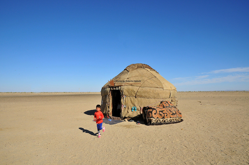 Nomads camp in the  desert