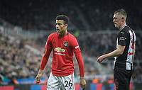 Mason Greenwood of Man Utd & Sean Longstaff of Newcastle United during the Premier League match between Newcastle United and Manchester United at St. James's Park, Newcastle, England on 6 October 2019. Photo by J GILL / PRiME Media Images.