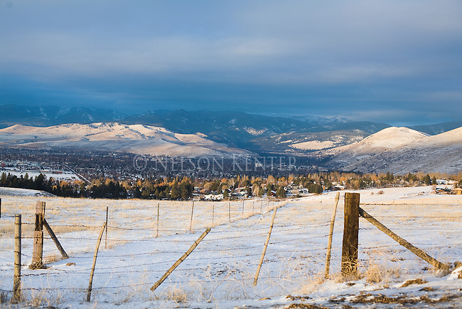 The Missoula, Montana valley on a winter day