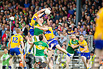 Kieran Donaghy Kerry in action against Cathal O'Connor and Gary Brennan Clare in the Munster Senior Football Championship at Fitzgerald Stadium in Killarney on Sunday.