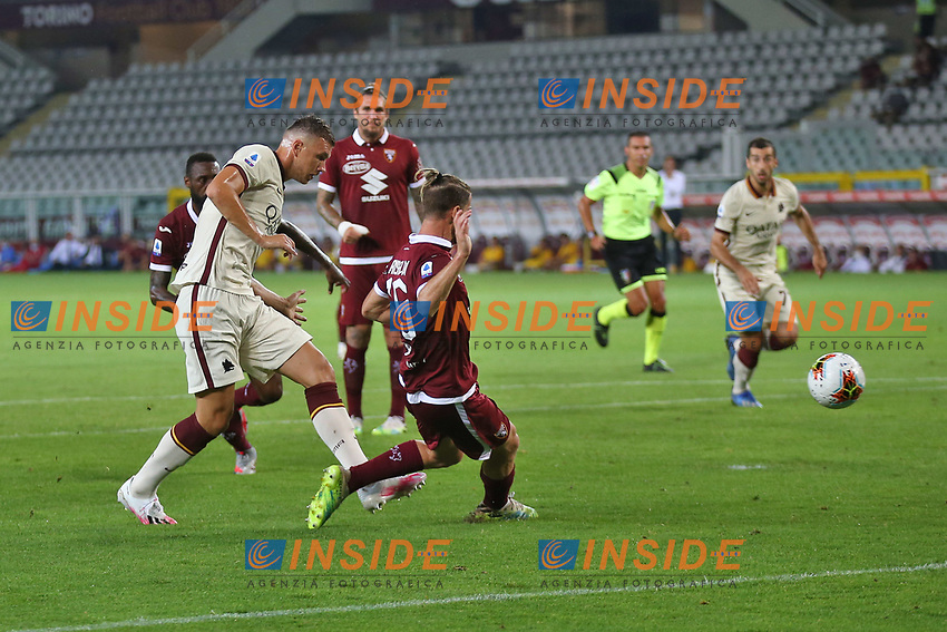 Edin Dzeko of AS Roma scores The goal of 1-1 during the Serie A football match between Torino FC and AS Roma  at Olimpico stadium in Roma (Italy), July 29th, 2020. Play resumes behind closed doors following the outbreak of the coronavirus disease. Photo Gino Mancini / Insidefoto