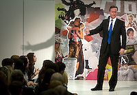 Conservative Party leader David Cameron speaking at an election campaign stop at the Retail Fashion Acadamy in London.