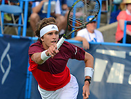 Washington, DC - July 23, 2016: Alexander Zverev  plays a shot during his semi-final match against Gael Monfils in the Citi Open at the Rock Creek Park Tennis Center in the District of Columbia, July 23, 2016  (Photo by Don Baxter/Media Images International)