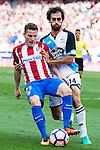 Atletico de Madrid's player Kevin Gameiro and Deportivo de la Coruña's player Alejandro Arribas during a match of La Liga Santander at Vicente Calderon Stadium in Madrid. September 25, Spain. 2016. (ALTERPHOTOS/BorjaB.Hojas)