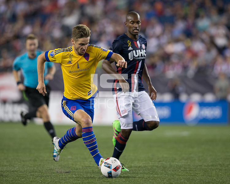 Foxborough, Massachusetts - September 3, 2016: In a Major League Soccer (MLS) match, New England Revolution (blue/white) defeated Colorado Rapids (yellow/blue), 2-0, at Gillette Stadium.